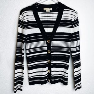Michael Kors Big Gold Button Stripe Cardigan